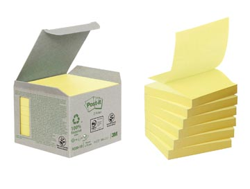Post-it Z-Notes gerecycleerd, ft 76 x 76 mm, geel, pak van 6 blokken