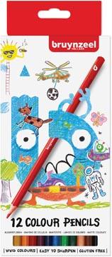 Bruynzeel Kids kleurpotloden, set van 12 stuks in geassorteerde kleuren