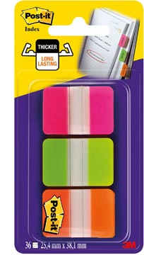Post-it Index Strong, ft 25,4 x 38 mm, set van 3 kleuren (roze, groen en oranje), 12 tabs per kleur