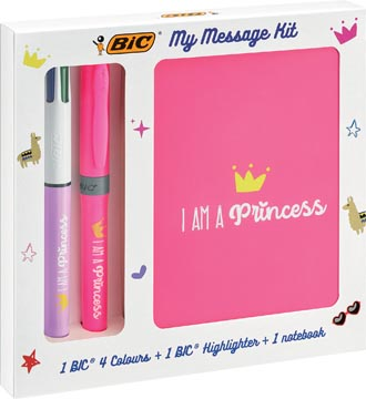 Bic Message Kit Princess, balpen 4 colours, markeerstift highlighter en notitieboekje ft A6